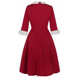 Vintage Two Tone Peter Pan Collar Dress - RED S
