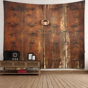 Wooden Door Lock Print Waterproof Wall Art Tapestry -