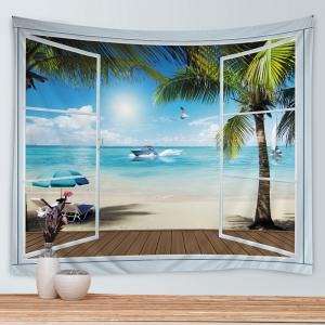 Belcony Beach Print Tapestry Wall Hanging Art Decoration - LAKE BLUE W79 INCH * L71 INCH