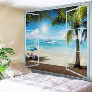 Belcony Beach Print Tapestry Wall Hanging Art Decoration - Lake Blue - W91 Inch * L71 Inch
