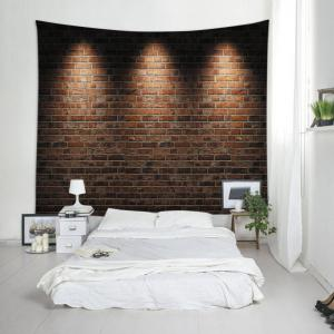 Lights Brick Wall Print Tapestry Wall Hanging Art Decoration - BRICK-RED W91 INCH * L71 INCH