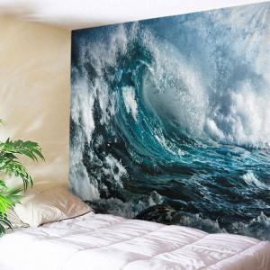 Wall Hanging Art Decoration Ocean Wave Print Tapestry - Ocean Blue - W91 Inch * L71 Inch