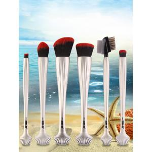 6Pcs Plated Shell Facial Makeup Brushes Kit