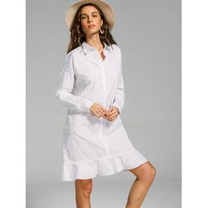 Flounces Button Down Long Shift Shirt Dress -