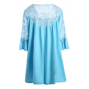 Lace Crochet Plus Size Bell Sleeve Tunic Top -