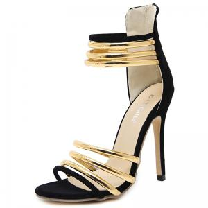High Heel Metallic Strap Gladiator Sandals -