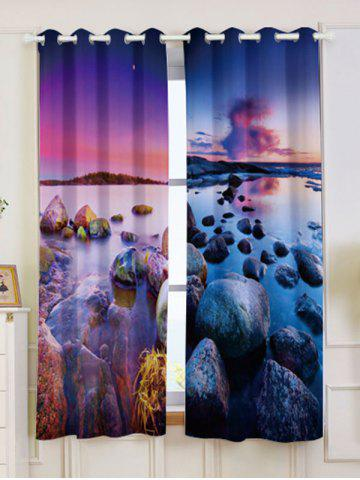 Sale Seaside Sunset 2Pcs Window Treatment Blackout Curtain COLORMIX W53 INCH * L63 INCH