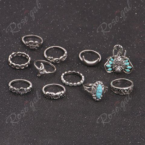 Outfit Bohemian Elephant Flower Moon Ring Set - SILVER  Mobile