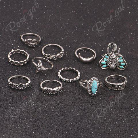 Outfits Bohemian Elephant Flower Moon Ring Set - SILVER  Mobile