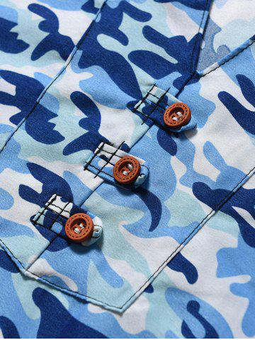 Outfits Button Embellished Notch Neck Camo Tee - L BLUE Mobile