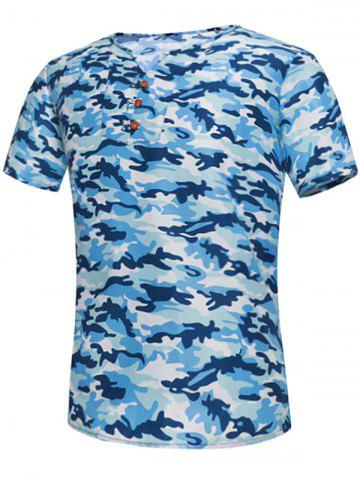 Button Embellished Notch Neck Camo Tee Bleu L