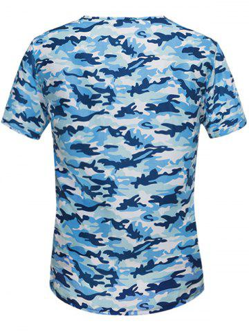 Discount Button Embellished Notch Neck Camo Tee - L BLUE Mobile