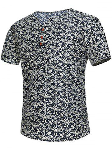 Button Embellished Notch Neck Retro Print Tee - Colormix - 5xl