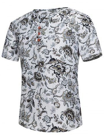 Cheap Button Embellished Notch Neck Floral Tee - L WHITE Mobile