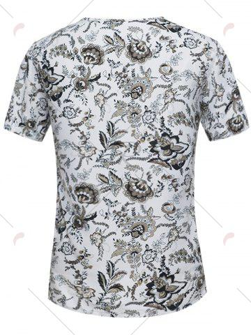 Sale Button Embellished Notch Neck Floral Tee - L WHITE Mobile