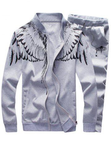 Stand Collar Zip Up Wings Print Jacket and Pants Twinset - Light Gray - 2xl