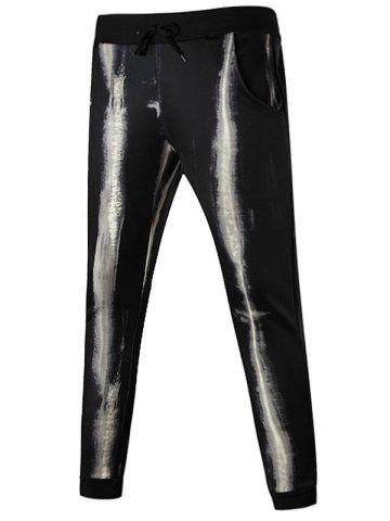 Online Drawstring Waist Tie Dyed Jogger Pants - XL BLACK Mobile