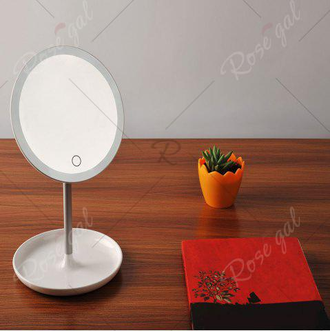 Latest Portable USB Charging Make Up Storage Mirror Lamp - WHITE  Mobile