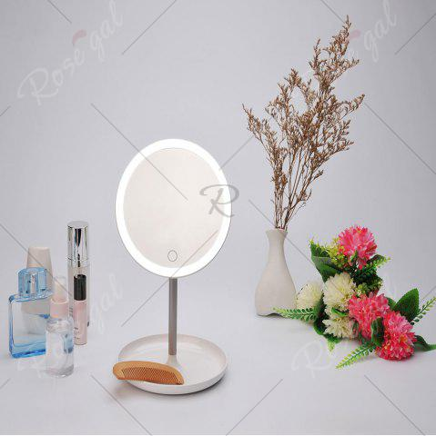 Affordable Portable USB Charging Make Up Storage Mirror Lamp - WHITE  Mobile