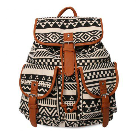 Buckles Canvas Ethnic Print Backpack - Black And Brown - 37