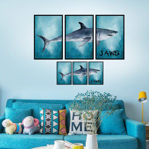 Outfit Photo Frame Splicing Shark Wall Decor Sticker - 60*90CM LAKE BLUE Mobile