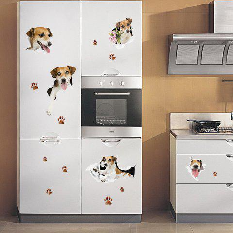 Outfit Puppy Dog Window Door Decor Wall Sticker - 50*70CM LIGHT BROWN Mobile