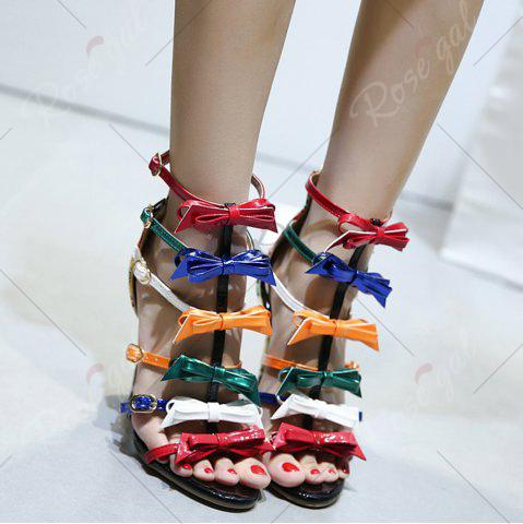 Sale Bowknot Strappy Buckled Gladiator Sandals - 37 NUDE Mobile