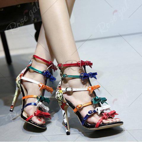 Online Bowknot Strappy Buckled Gladiator Sandals - 37 NUDE Mobile
