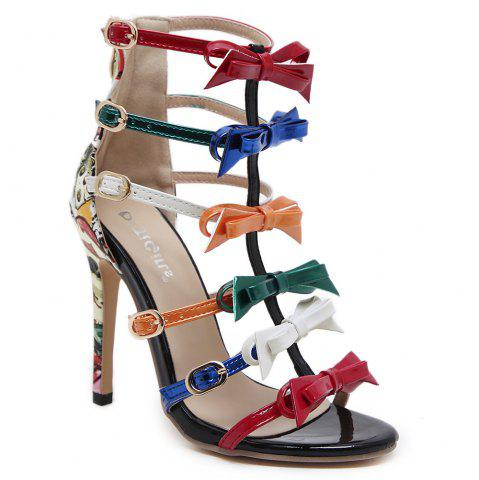 Fashion Bowknot Strappy Buckled Gladiator Sandals - 37 NUDE Mobile