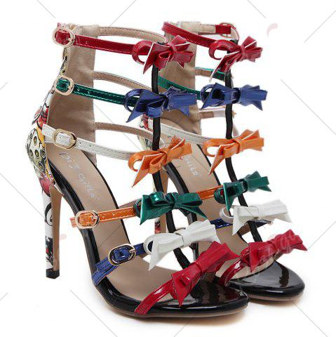 Shop Bowknot Strappy Buckled Gladiator Sandals - 37 NUDE Mobile