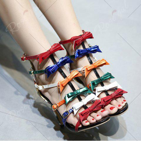 Shops Bowknot Strappy Buckled Gladiator Sandals - 37 NUDE Mobile