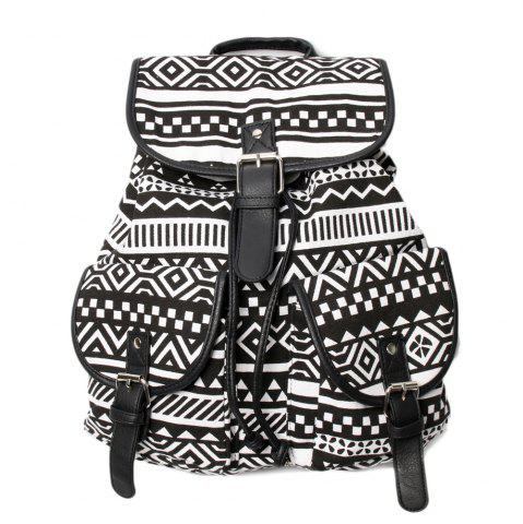 Best Buckles Canvas Ethnic Print Backpack BLACK