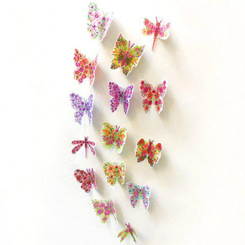 Outfits Pastoral DIY 3D Butterfly Bedroom Wall Sticker Set - PATTERN B COLORMIX Mobile