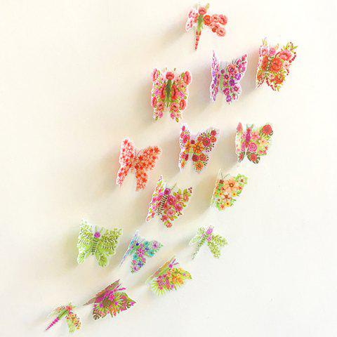 Sale Pastoral DIY 3D Butterfly Bedroom Wall Sticker Set - PATTERN A COLORMIX Mobile