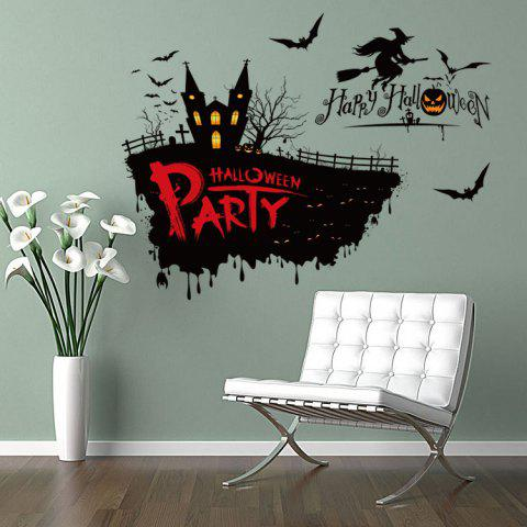 Fancy Happy Halloween Party Decor Wall Sticker - 50*70CM BLACK Mobile