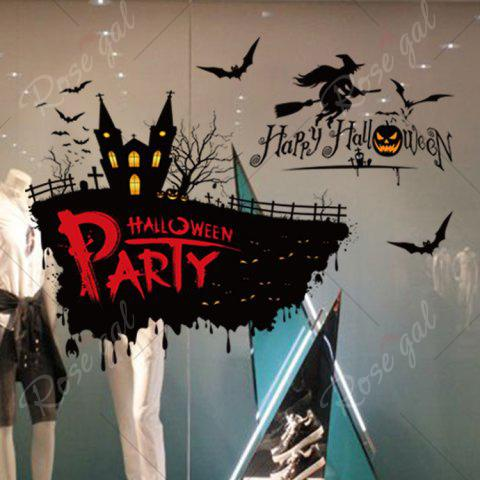 Sale Happy Halloween Party Decor Wall Sticker - 50*70CM BLACK Mobile