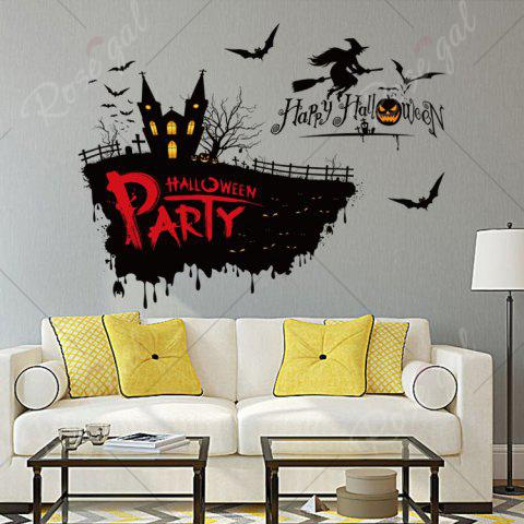 Cheap Happy Halloween Party Decor Wall Sticker - 50*70CM BLACK Mobile