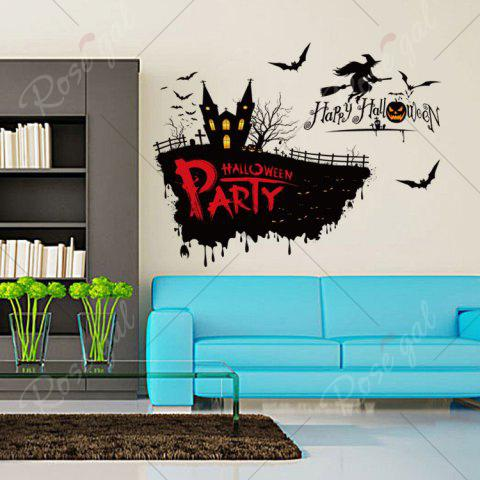 Fashion Happy Halloween Party Decor Wall Sticker - 50*70CM BLACK Mobile