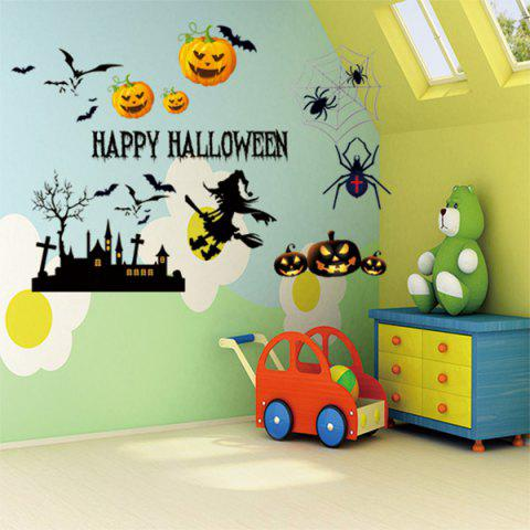 Online Vinyl Happy Halloween Decorative Wall Sticker COLORMIX 50*70CM