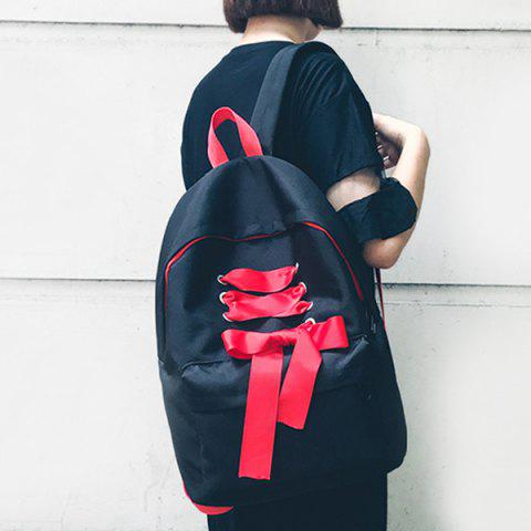 Outfits Casual Ribbon Nylon Backpack BLACK