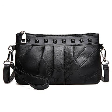 Rivet Faux Leather Ruched Crossbody Bag - Black