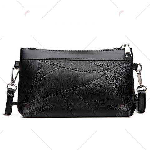 Shop Rivet Faux Leather Ruched Crossbody Bag - BLACK  Mobile