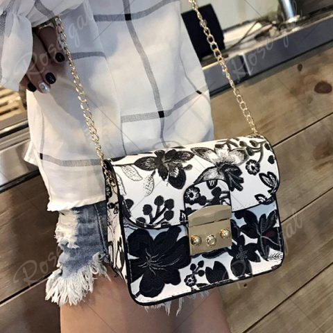 Outfits Floral Mini Chain Crossbody Bag - BLACK  Mobile