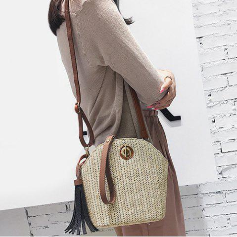 Shops Tassel Straw Weave Crossbody Bag OFF-WHITE