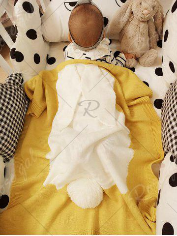 Shop Soft Kids Bunny Knitting Bed Blanket - YELLOW  Mobile