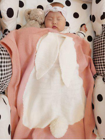 Soft Kids Bunny Knitting Bed Blanket - Pink - Euro King