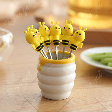 Online 6PCS Mini Cartoon Bee Stainless Steel Forks - YELLOW  Mobile