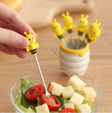 Latest 6PCS Mini Cartoon Bee Stainless Steel Forks - YELLOW  Mobile