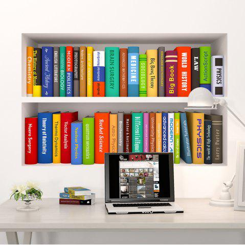 Affordable 3D Stereo Bookshelf Office Vinyl Wall Sticker - 60*90CN*2PCS COLORMIX Mobile