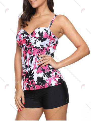 Trendy Twist Front Printed Tankini Set - S RED Mobile